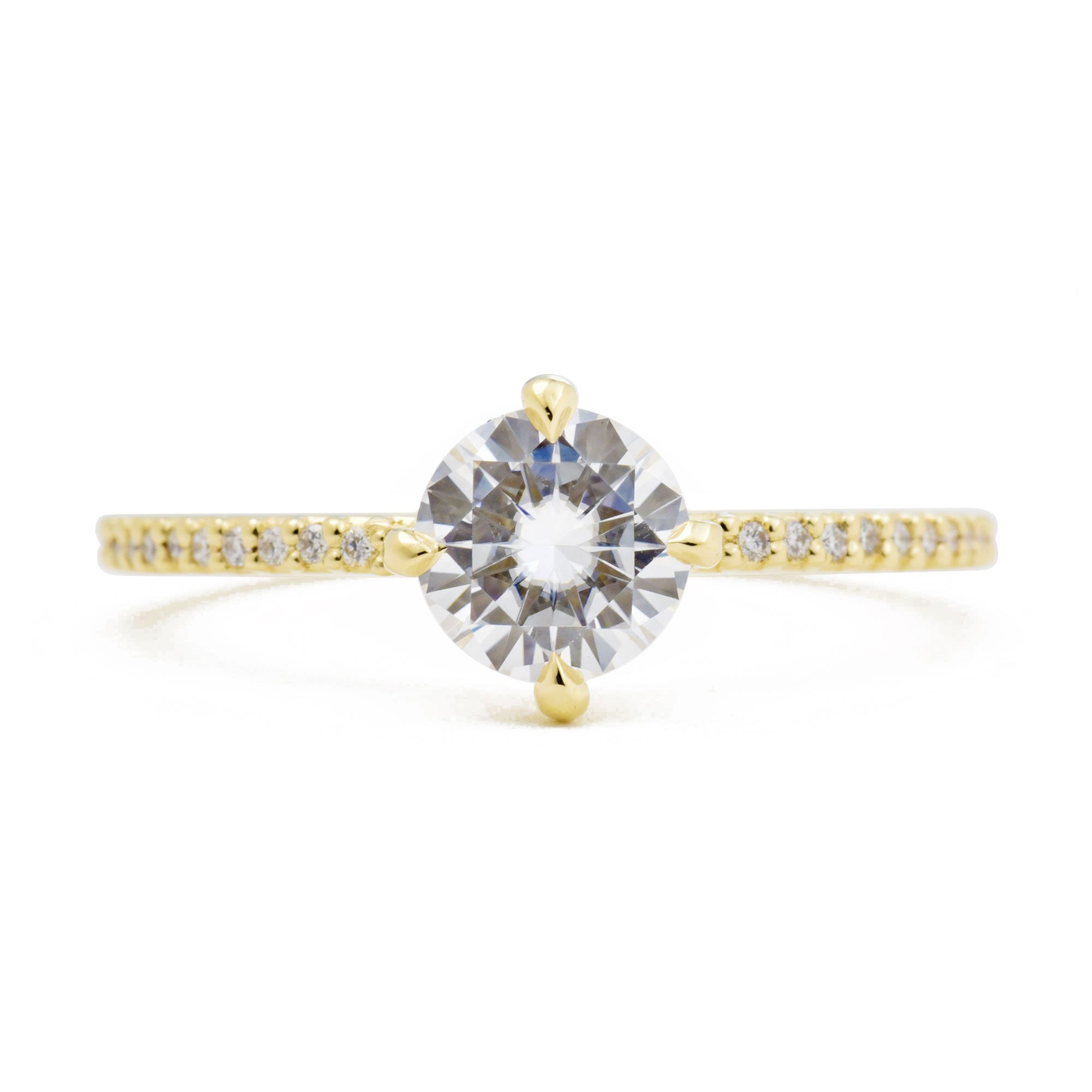 1.0ct Vera Moissanite Solitaire Engagement Ring with Pavé Diamonds