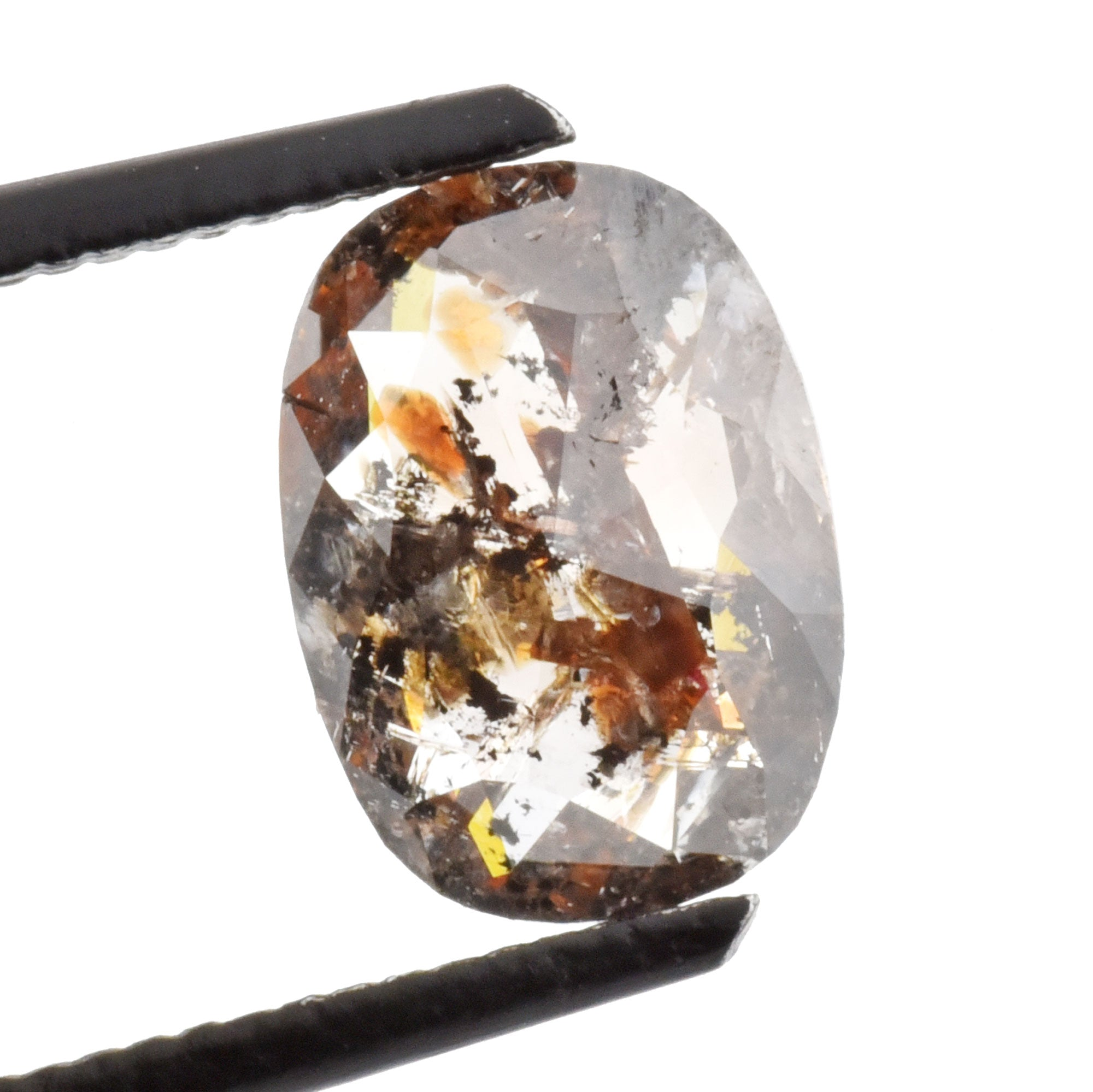 1.45ct Brown Salt & Pepper Rose Cut Cushion Diamond, 9.2x6.6mm