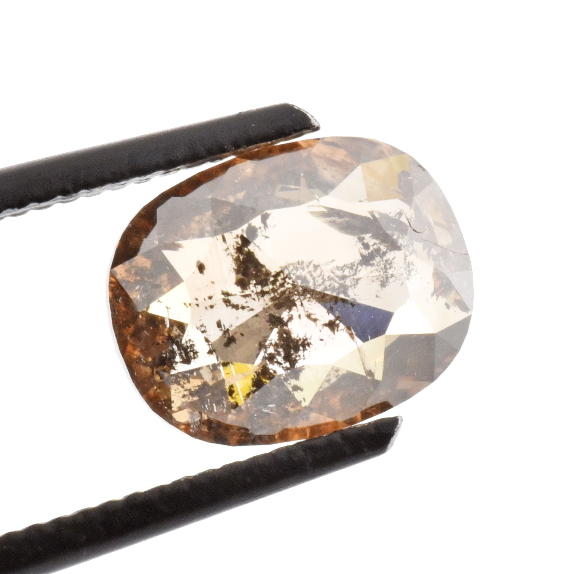 1.83ct Brown Salt & Pepper Rose Cut Cushion Diamond, 9.x7.1mm