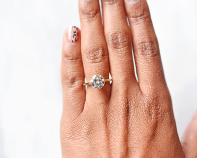 Vera 2ct Diamond Solitaire Engagement Ring modeled on hand