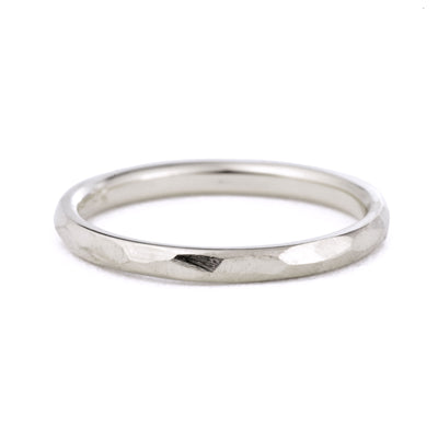 2mm Geo Wedding Band in white gold