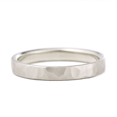 3mm Hammered Wedding Band in white gold