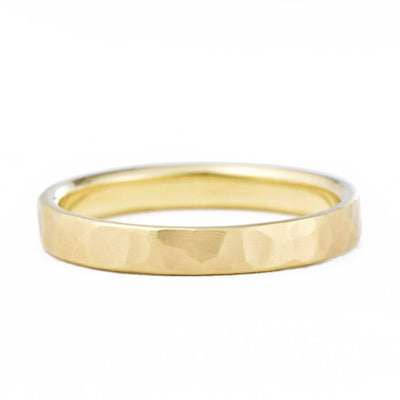 3mm Hammered Wedding Band in yellow gold