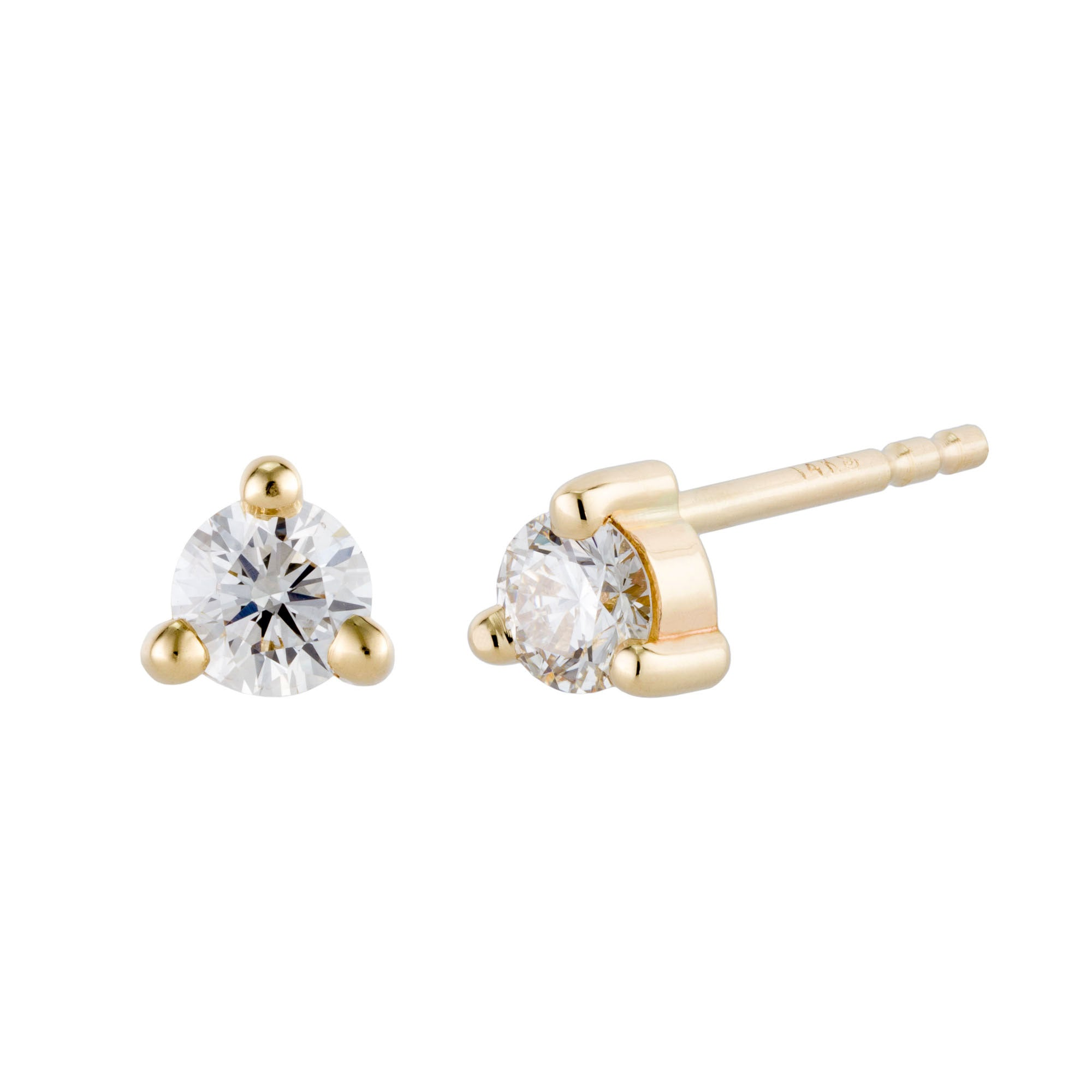 Product shot of 14K Small Diamond Studs in yellow gold