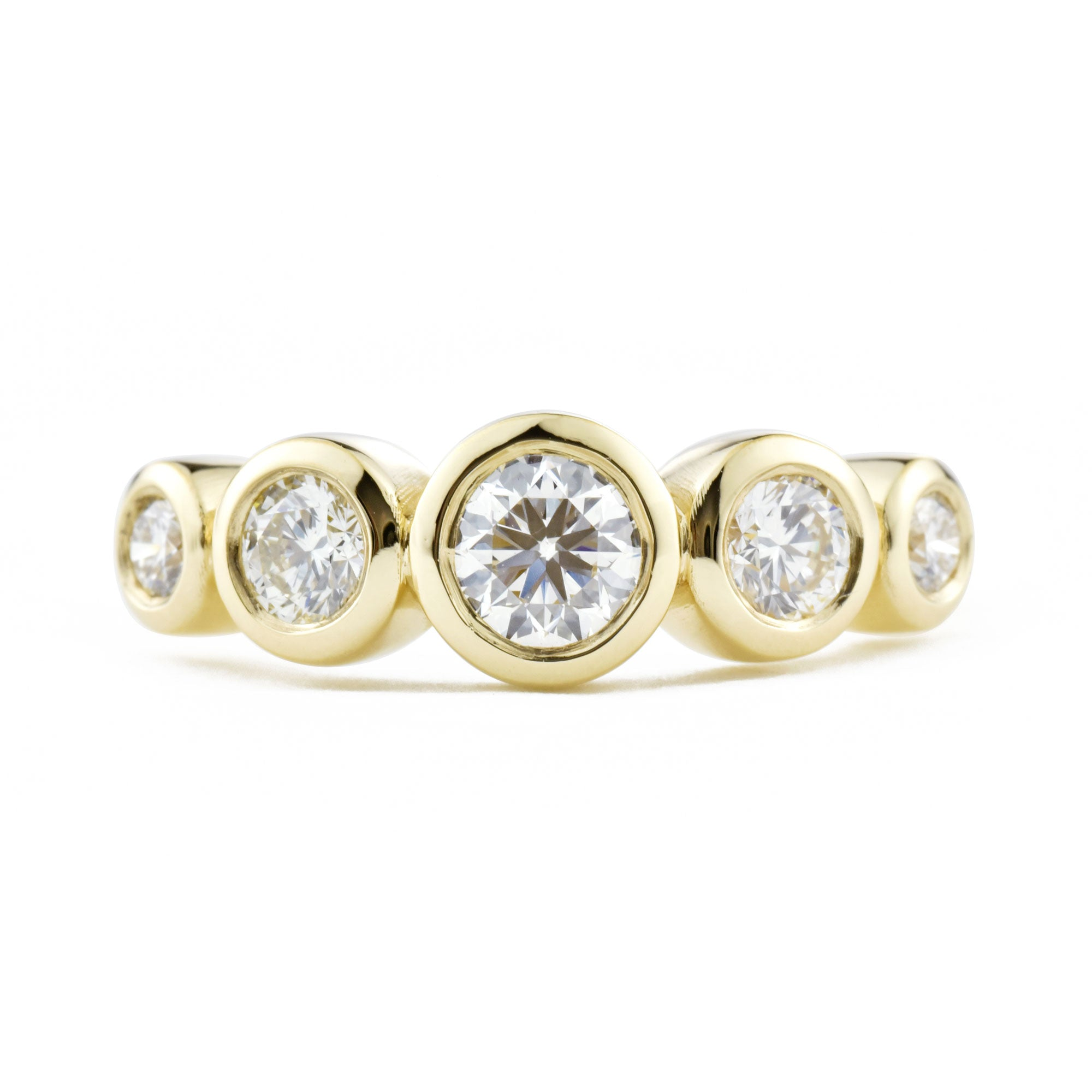 Solstice Five Stone Diamond Bezel Band shown from the front in yellow gold