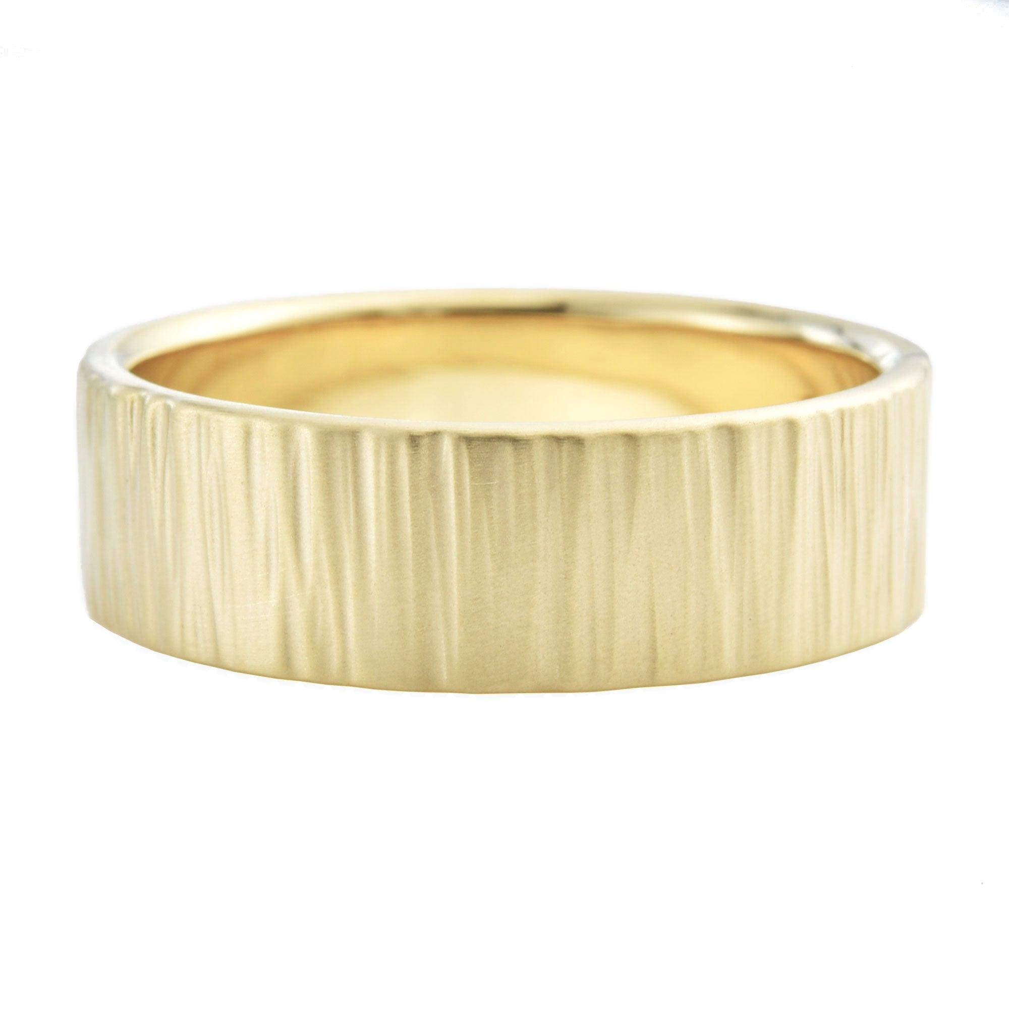 Men's 7mm Birch Wedding Band in yellow gold