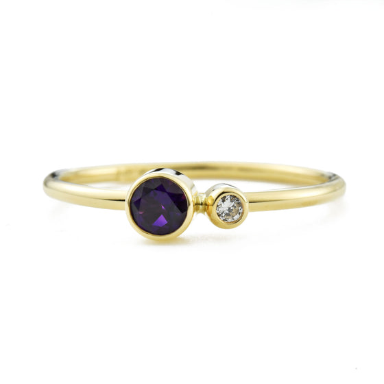 Amethyst Diamond Kiss Ring - February Birthstone