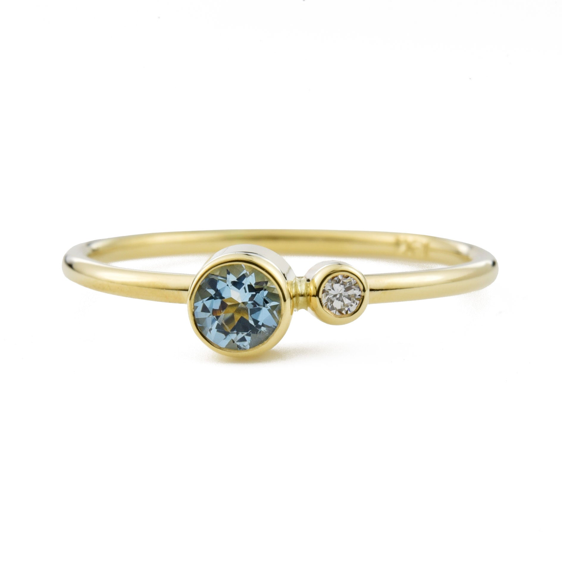 Aquamarine Diamond Kiss Ring