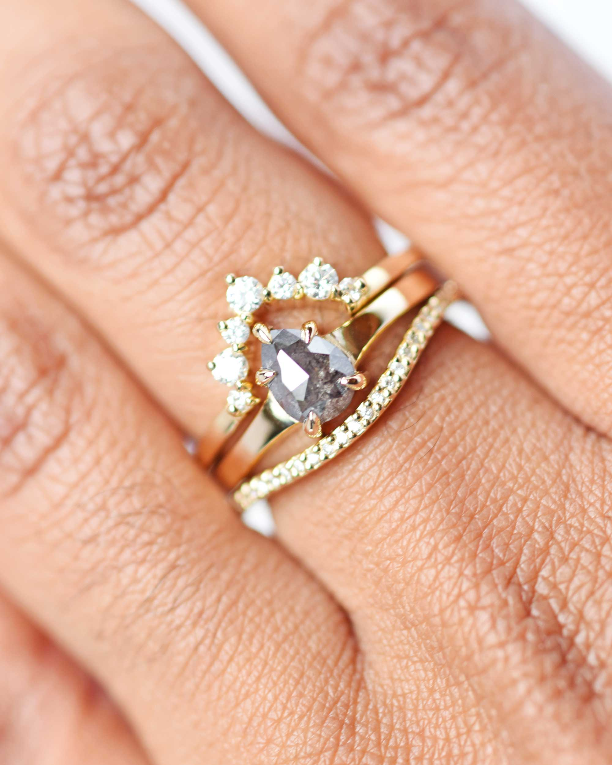 Astrid Rose Cut Salt & Pepper Pear Diamond Ring