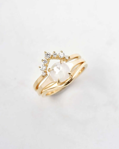 Size 7.25 - Astrid Rose Cut Opalescent White Round Diamond Ring