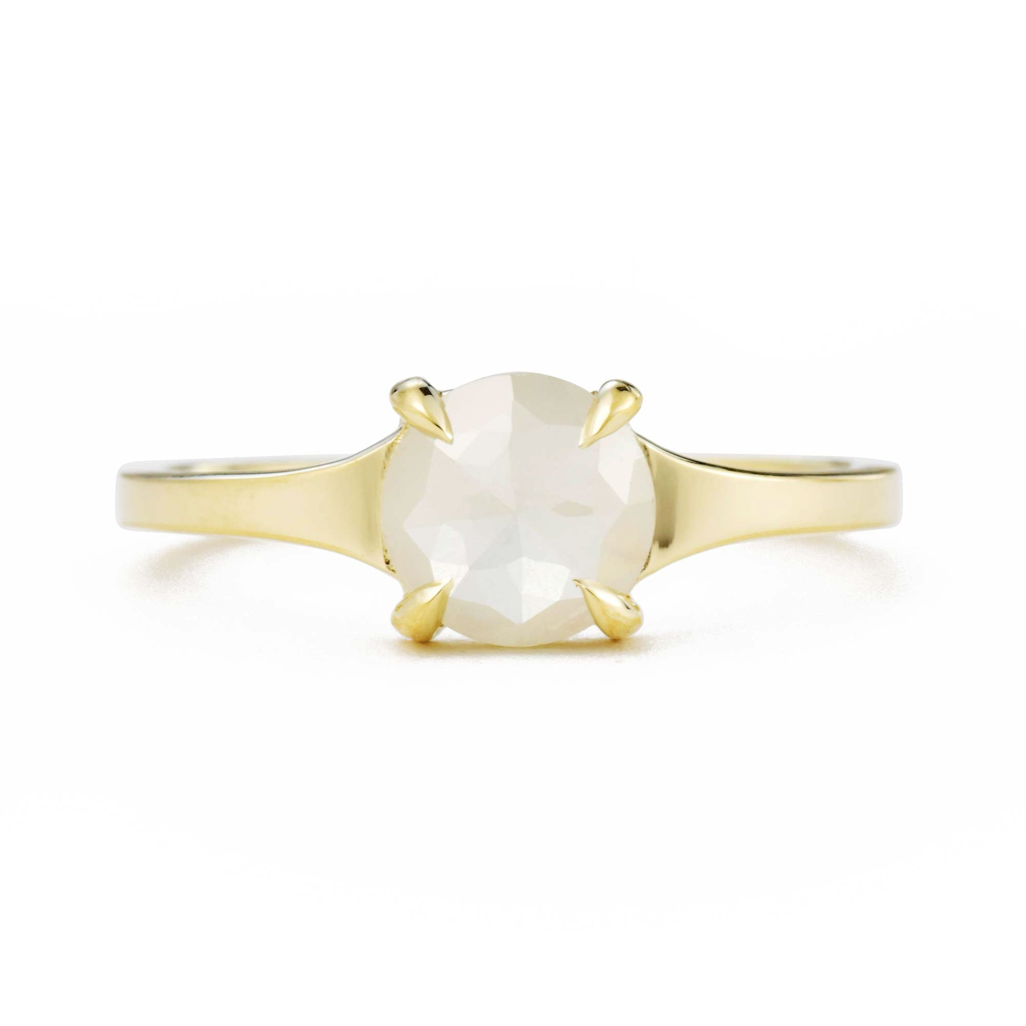 Astrid Rose Cut Opalescent White Round Diamond Ring