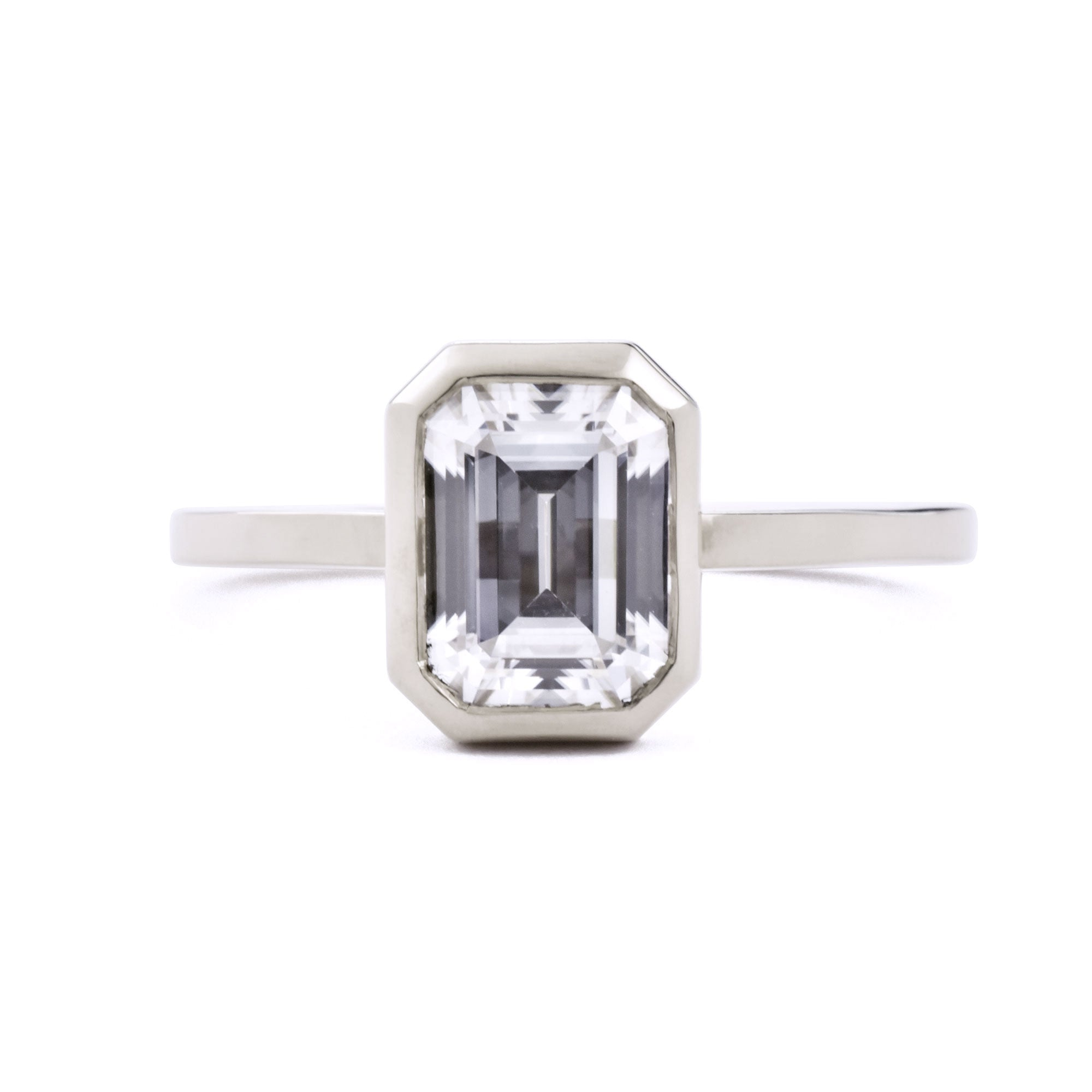 Aura Emerald Cut Bezel 1.75ct Moissanite Engagement Ring