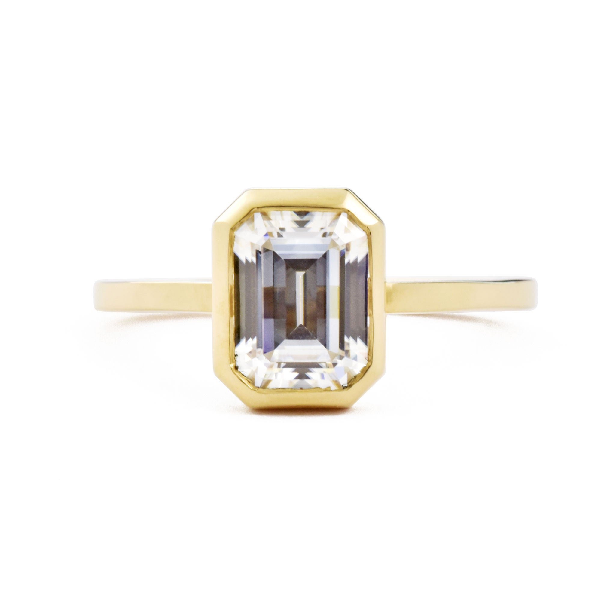 Aura Open Bezel Emerald Cut 1.75ct Moissanite Engagement Ring