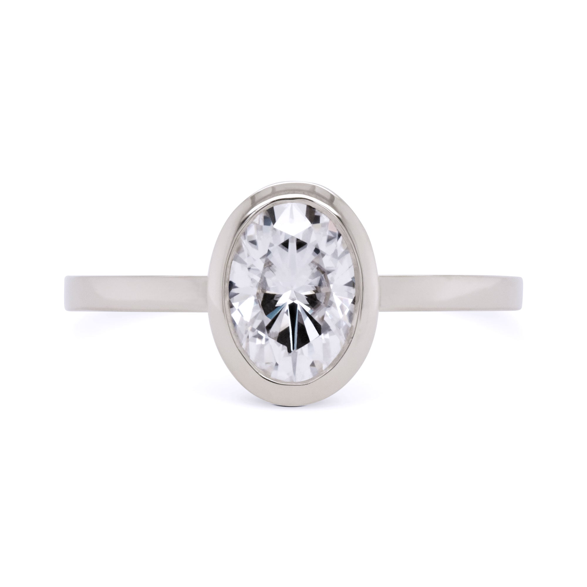 Aura Oval Bezel 1ct Moissanite Engagement Ring