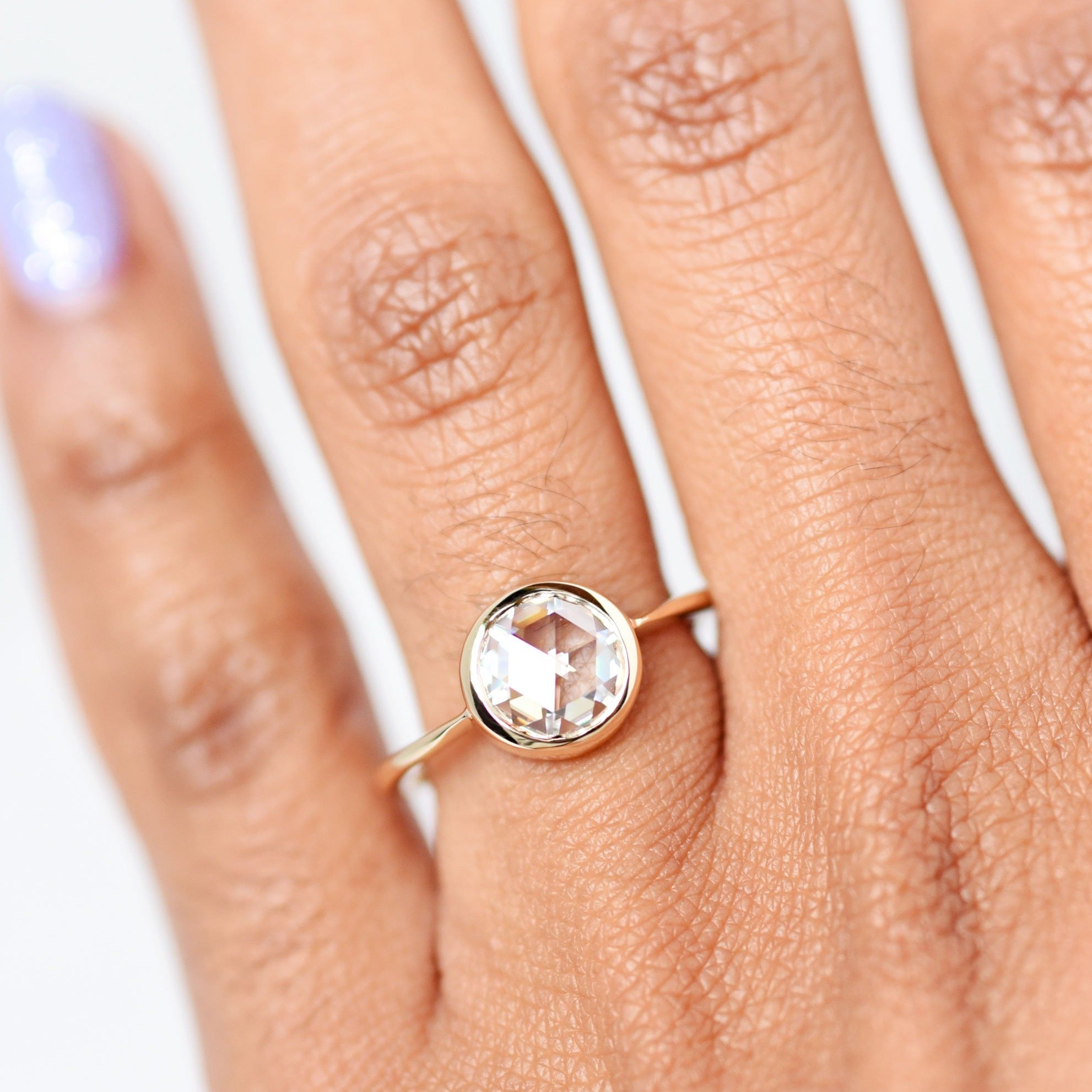 Rose Cut Moissanite Bezel Engagement Ring in yellow gold