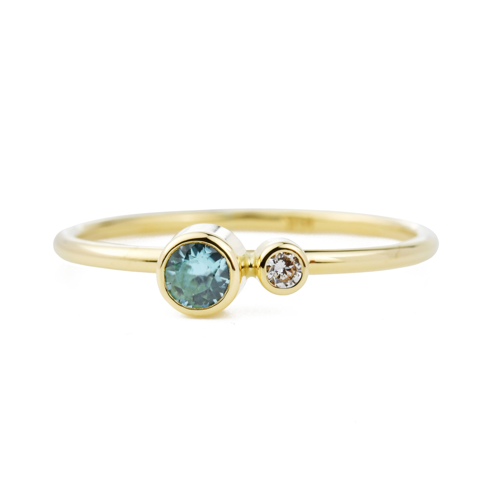 Blue Zircon Diamond Kiss Ring - December Birthstone