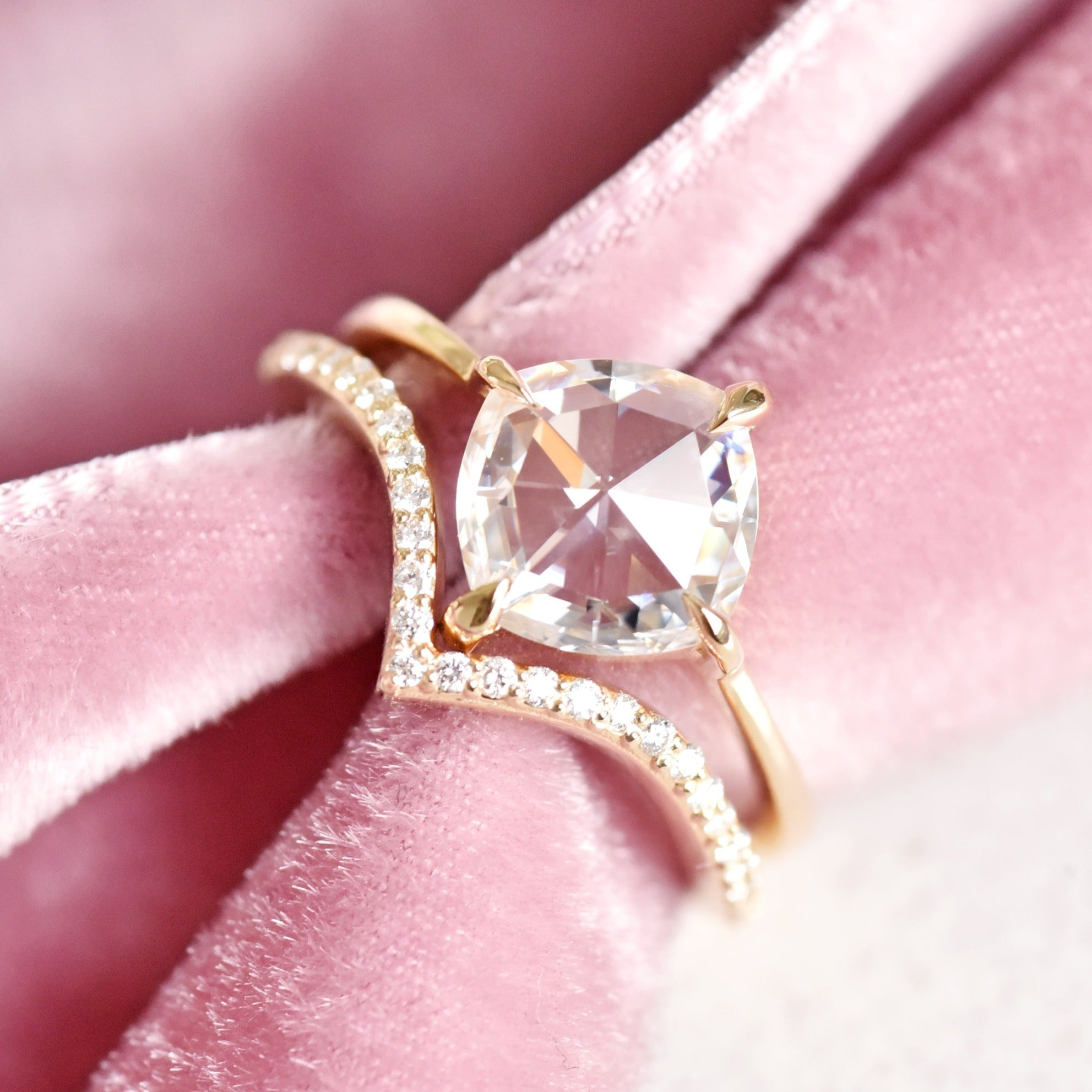 Eva Rose Cut Cushion Moissanite Engagement Ring