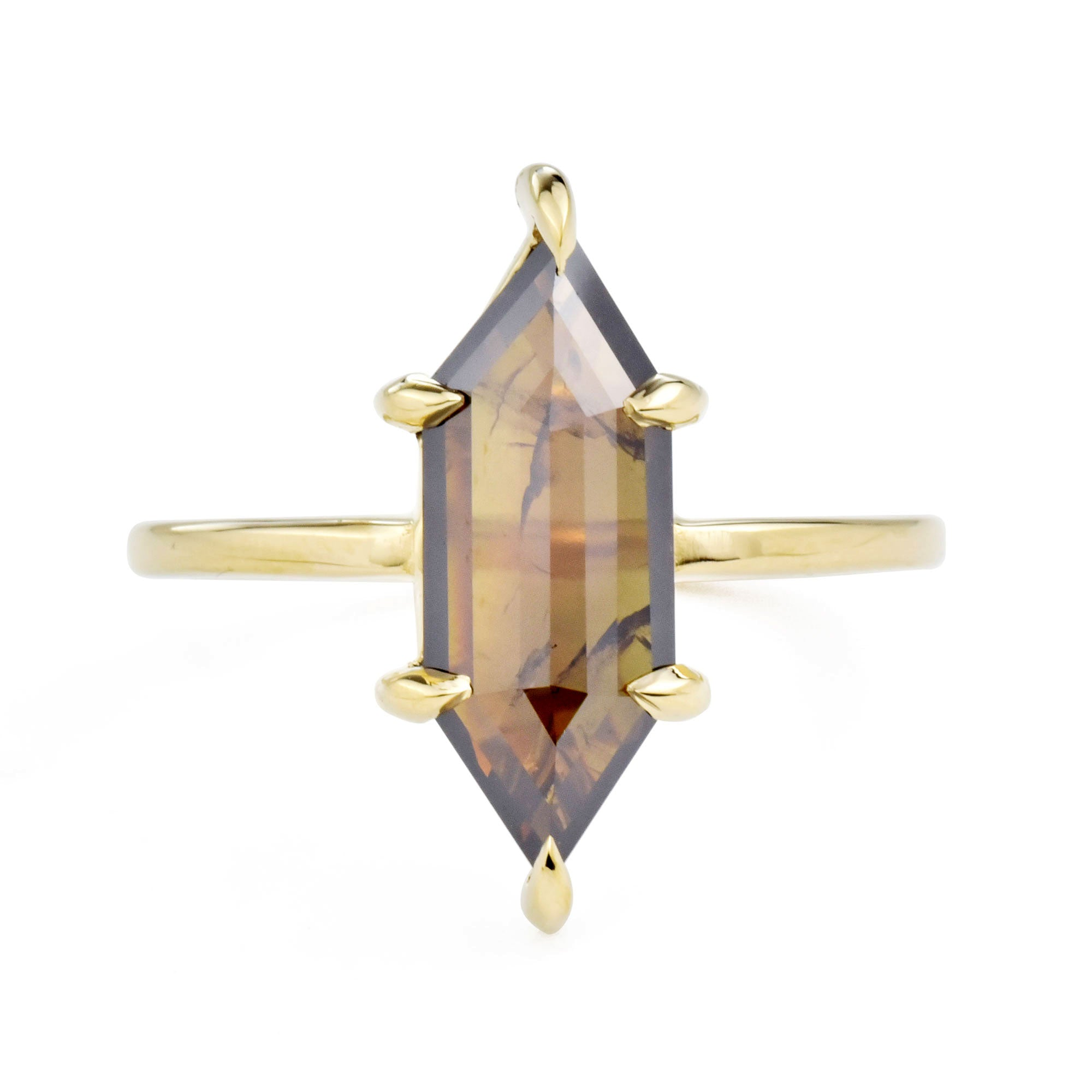 Eva Cognac Hexagon Diamond Engagement Ring