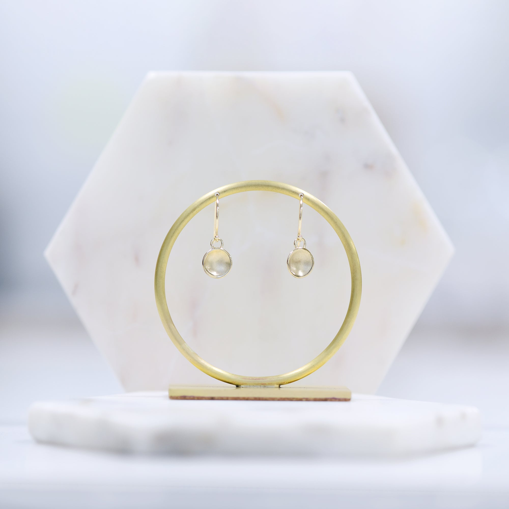 14K Yellow gold concave circle dangle earrings by Valerie Madison Jewelry