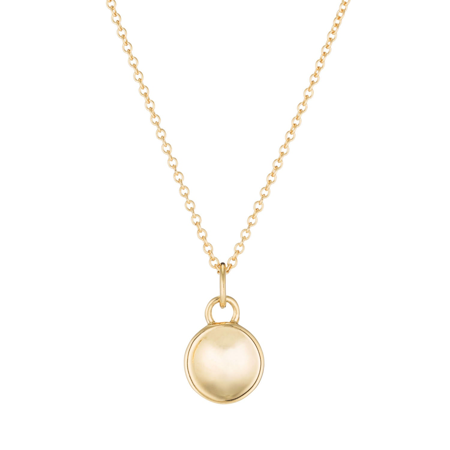 14K Yellow gold concave disc necklace by Valerie Madison