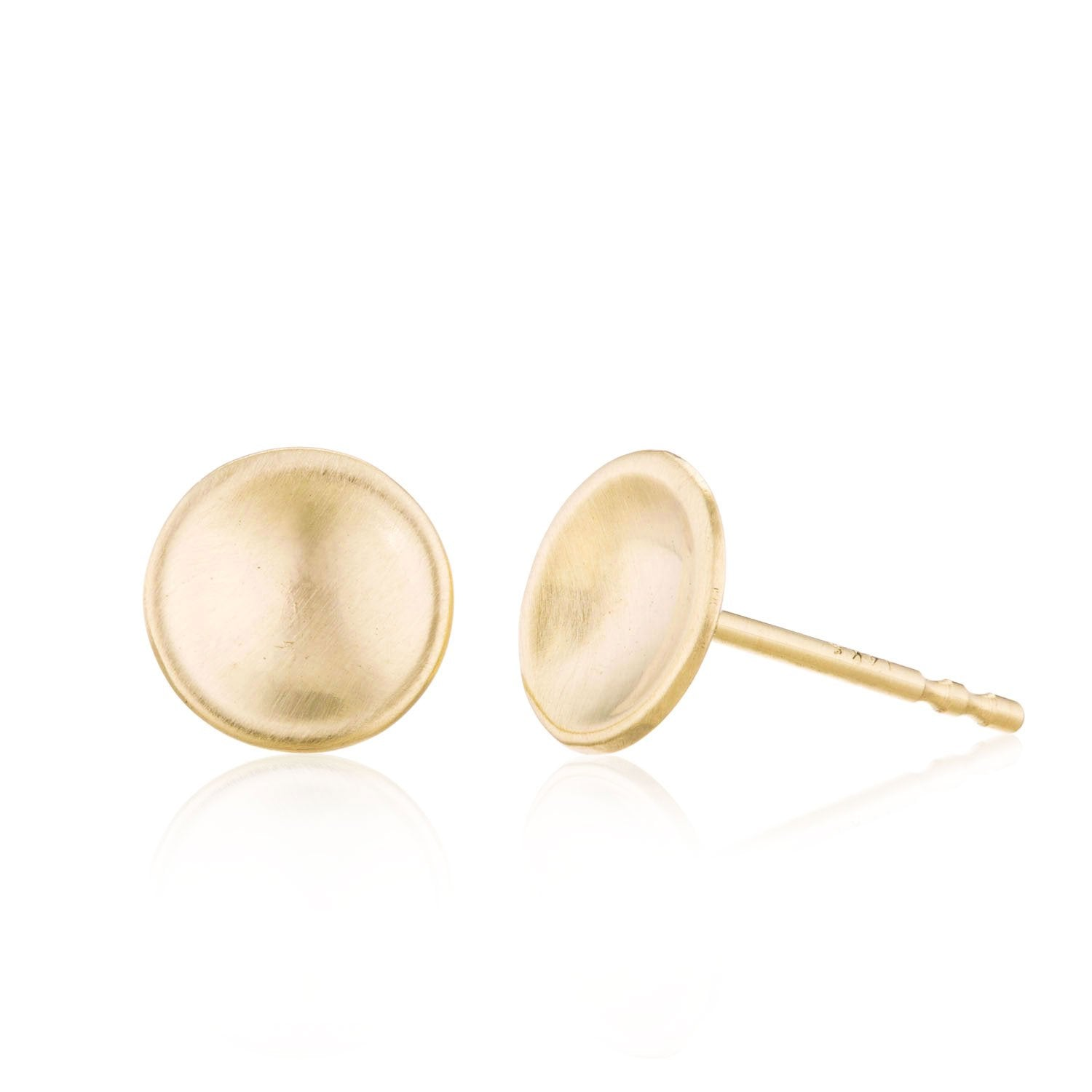 14K Yellow gold concave circle stud earrings  by Valerie Madison Jewelry