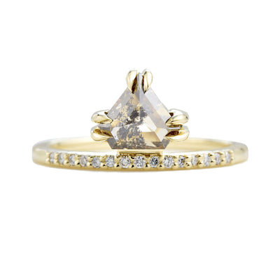 Corona Salt & Pepper Shield Diamond Engagement Ring