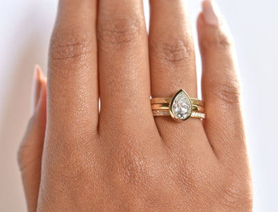 Aura Pear Bezel 1.5ct Moissanite Engagement Ring