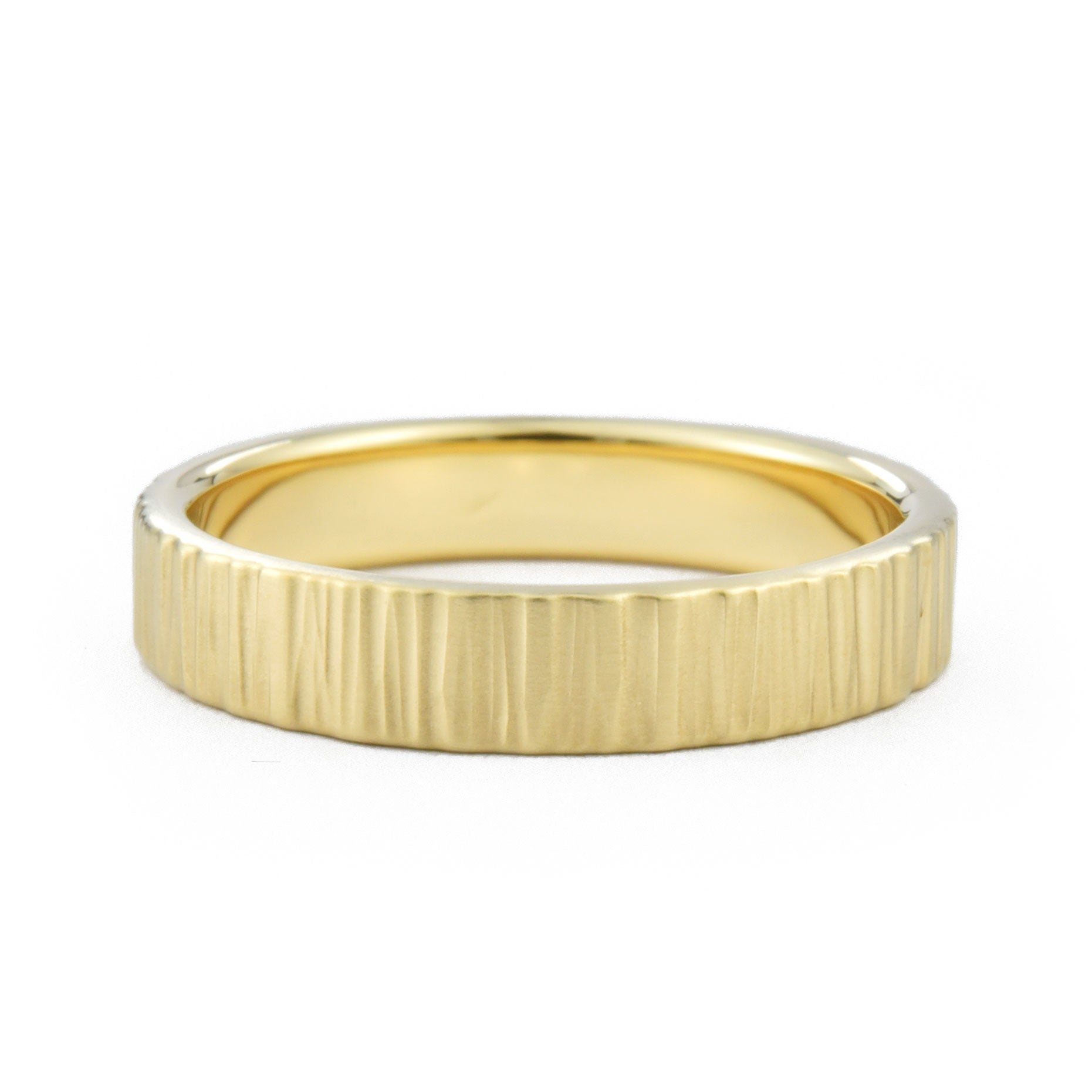 4mm Birch Wedding Band in yellow gold