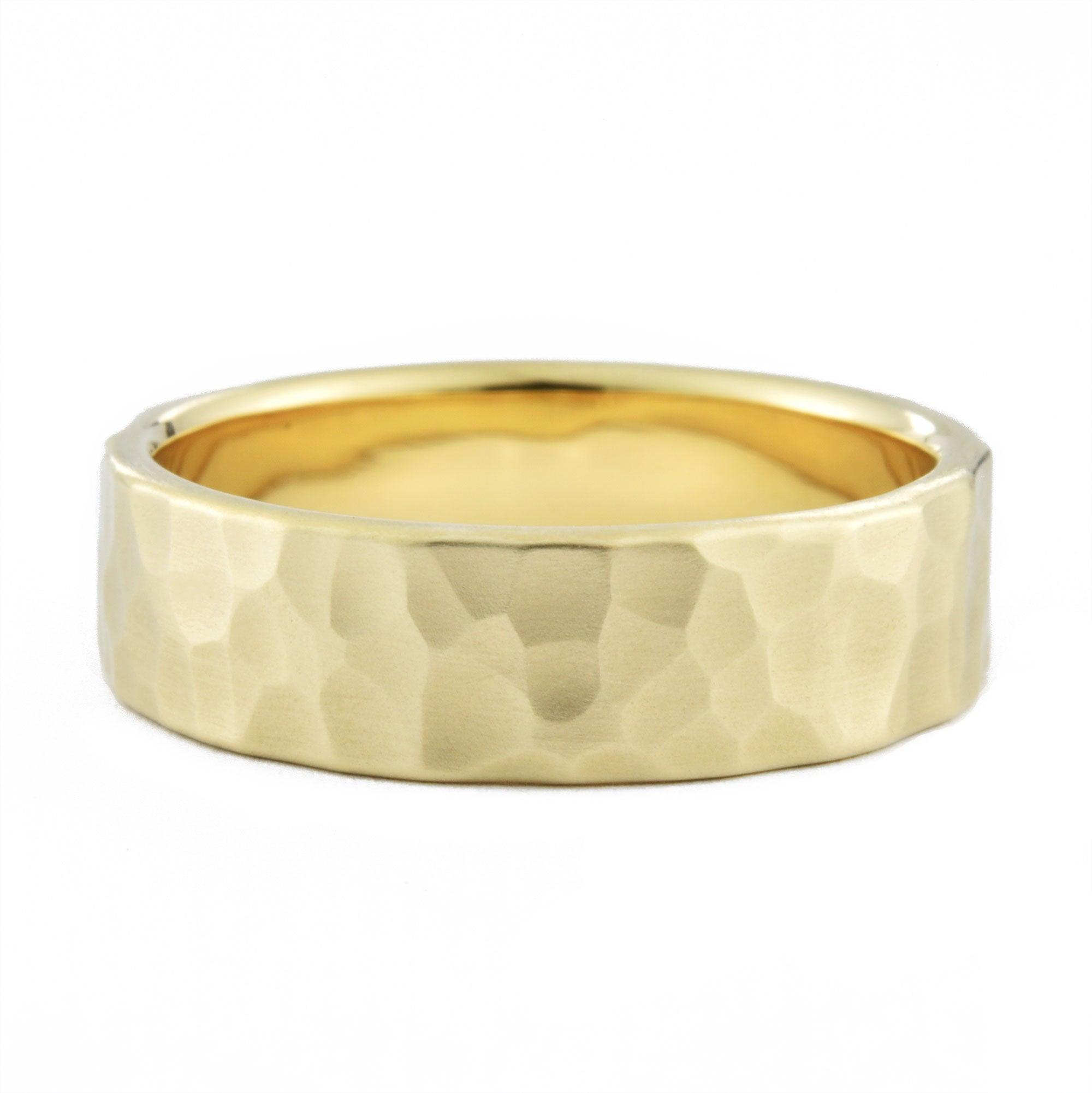 6mm Men's Hammered Wedding Band in yellow gold