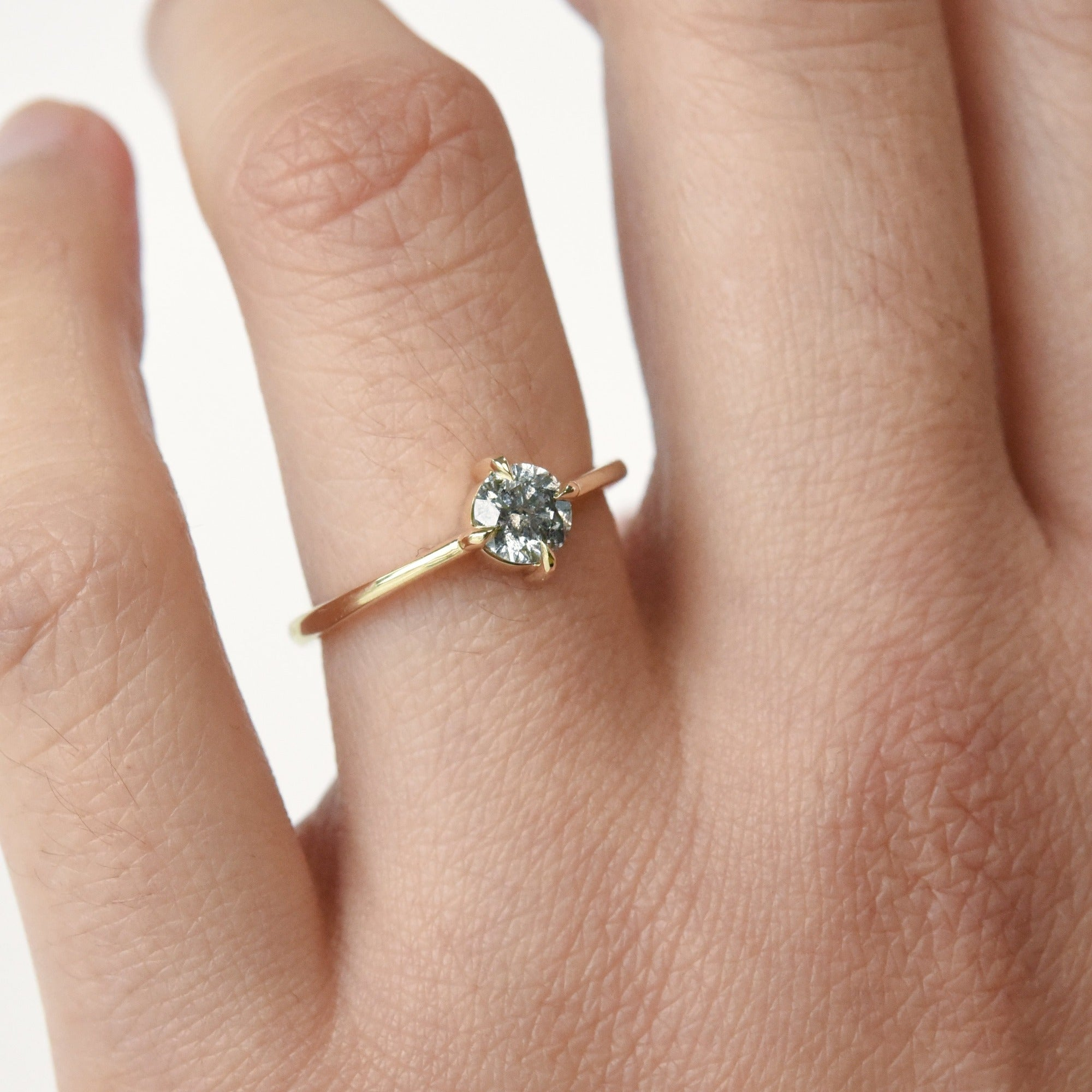 0.5ct Eva Salt & Pepper Diamond Solitaire Engagement Ring (size 6)