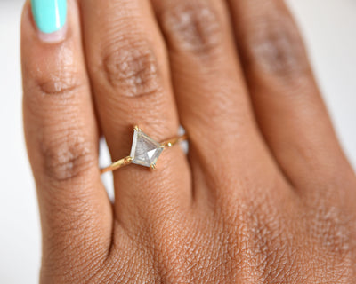 Eva Gray Rose Cut Kite Diamond Engagement Ring