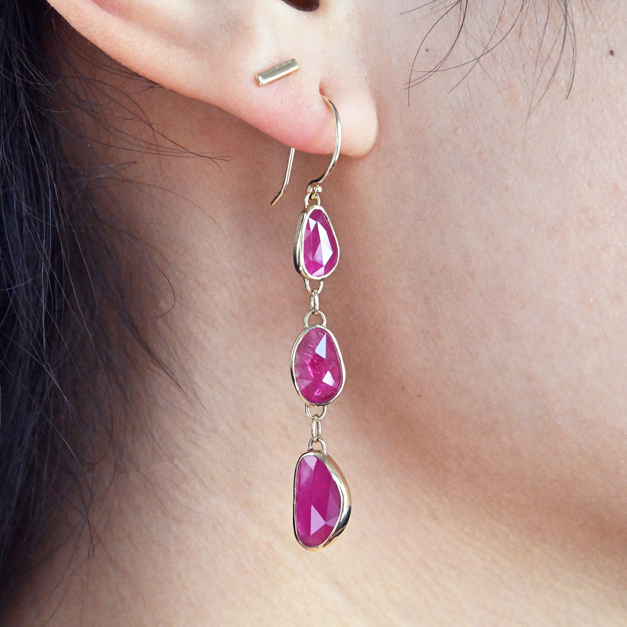 Asymmetrical Ruby Dangle Earrings