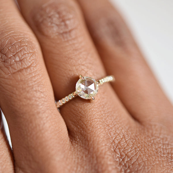 Eva Rose Cut Diamond Engagement Ring with Pavé Diamonds