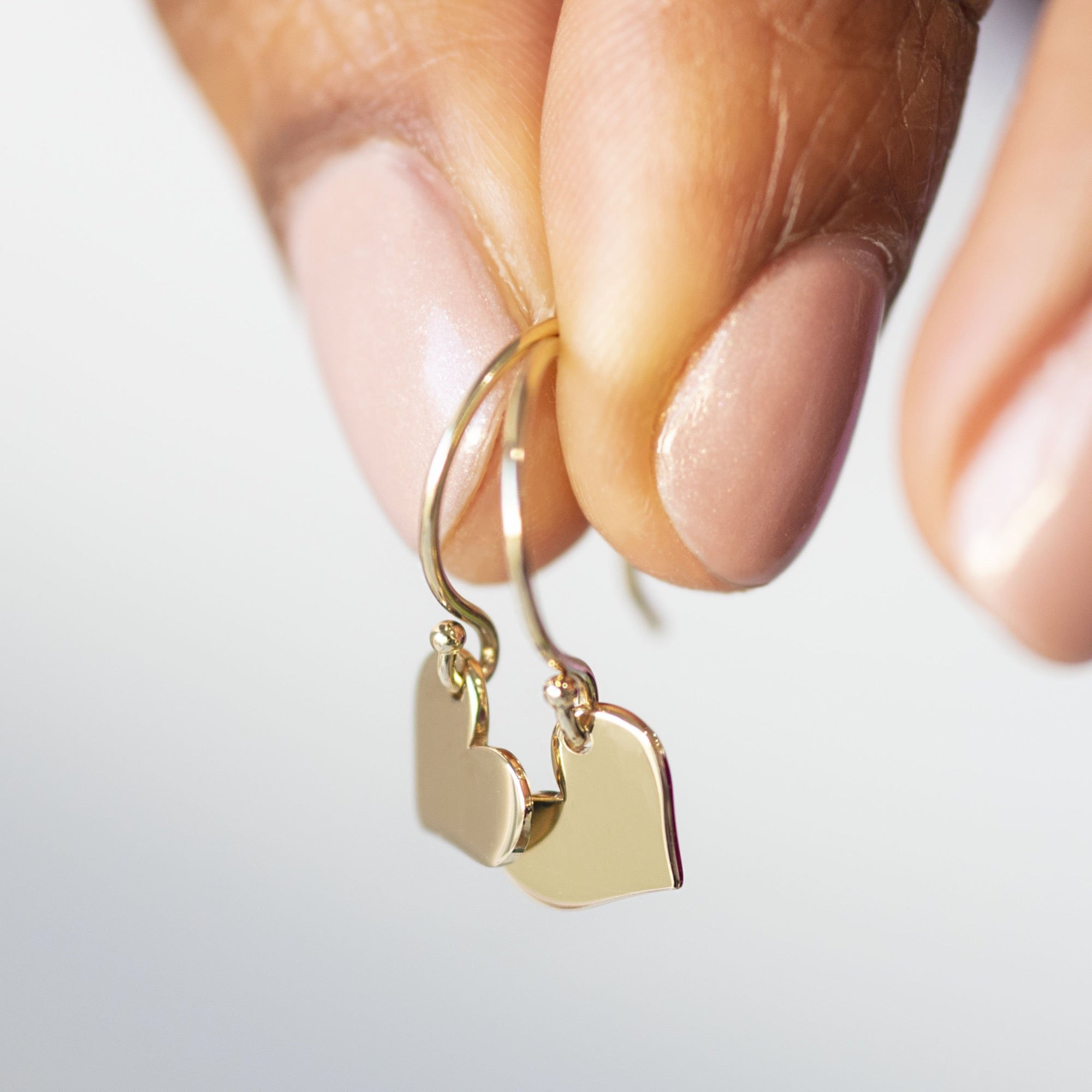 14K Gold Dangling Heart Earrings
