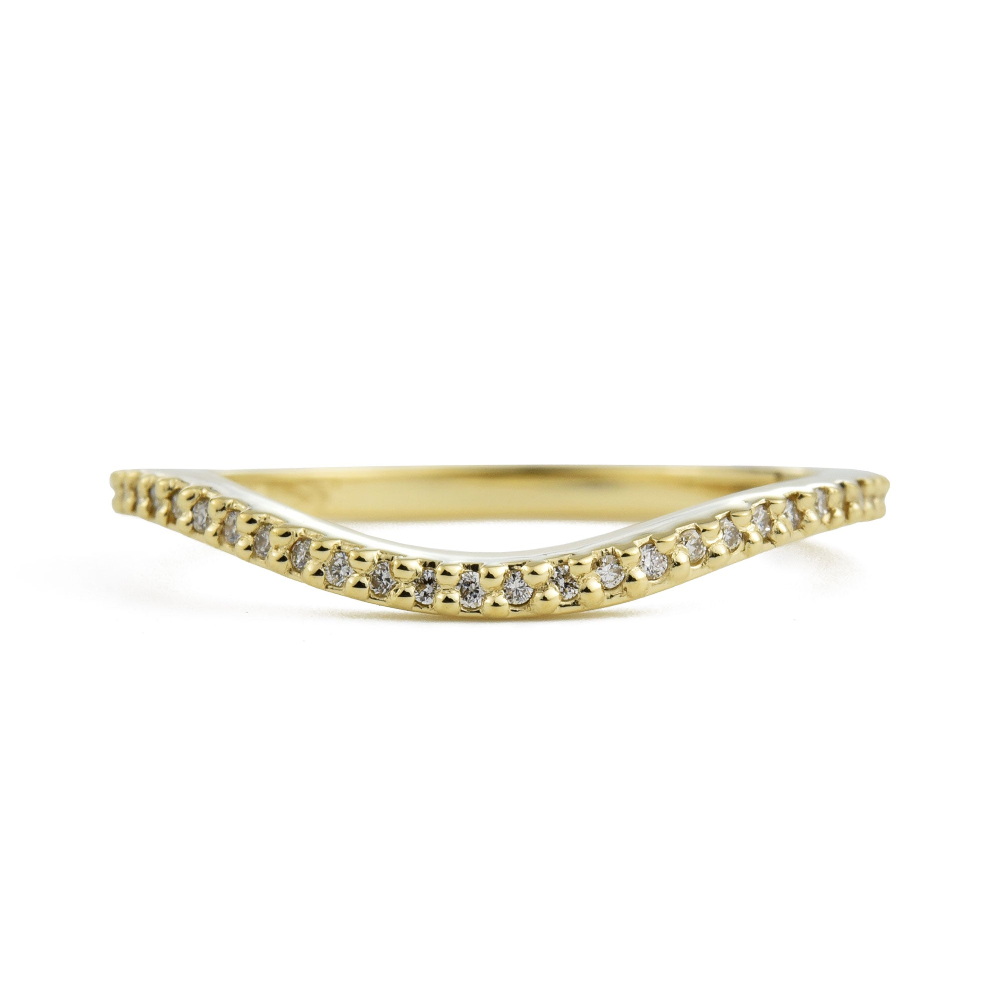 Dainty Diamond Wave Band in yellow gold