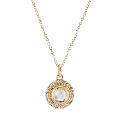 Selena Rose Cut Diamond Halo Necklace