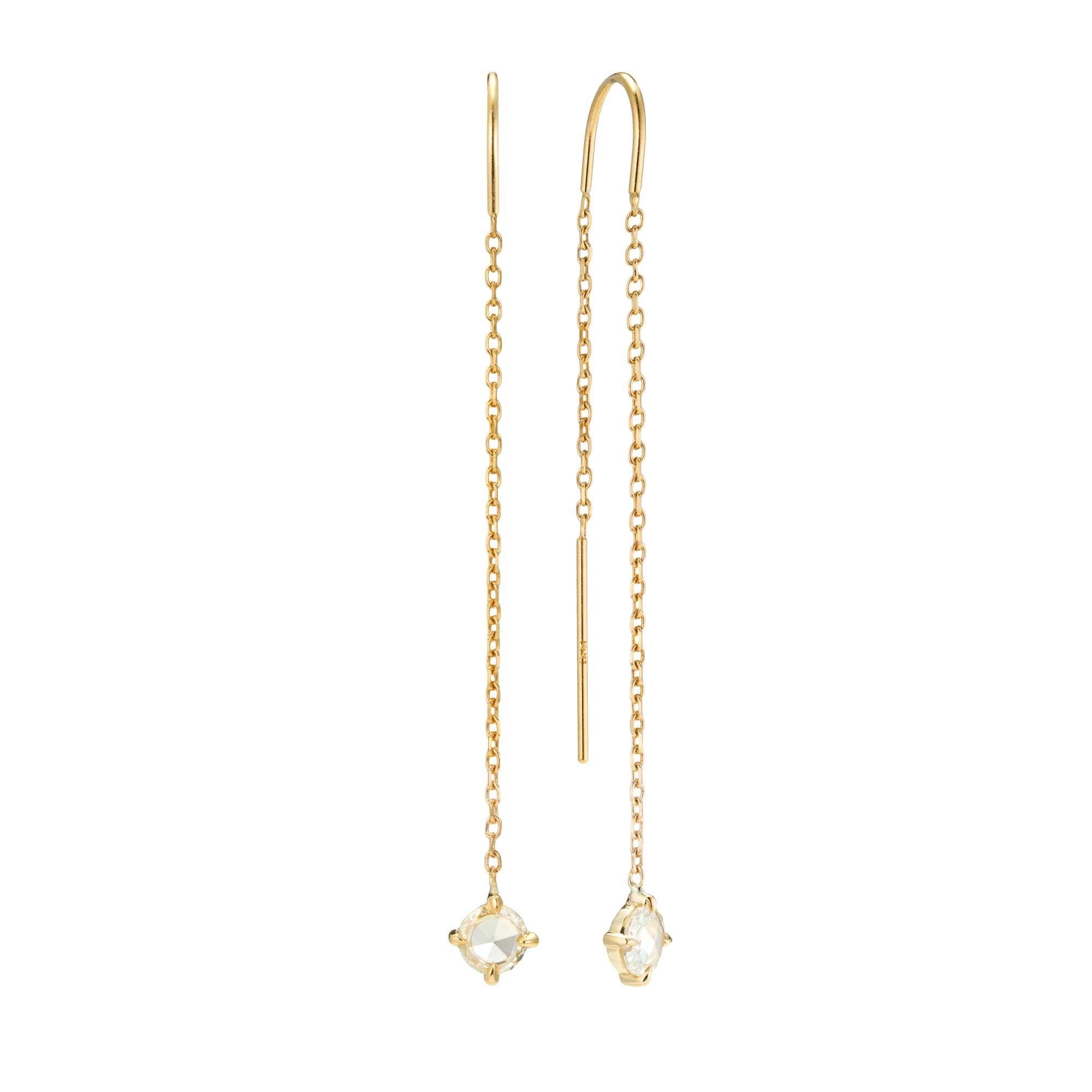 14k Yellow gold diamond chain threader earring by Valerie Madison
