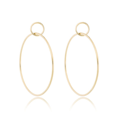 14K Gold Large Double Hoop Earrings