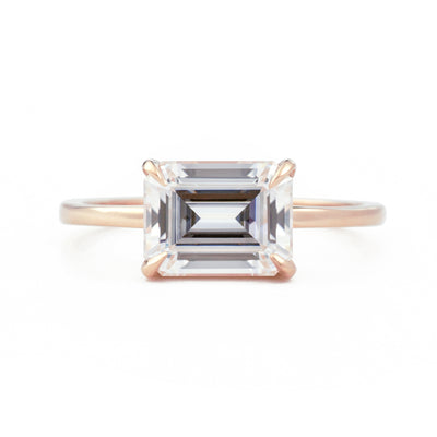 Eva East West Emerald Cut 1.75ct Moissanite Engagement Ring in rose gold