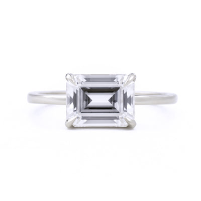 Eva East West Emerald Cut 1.75ct Moissanite Engagement Ring in white gold