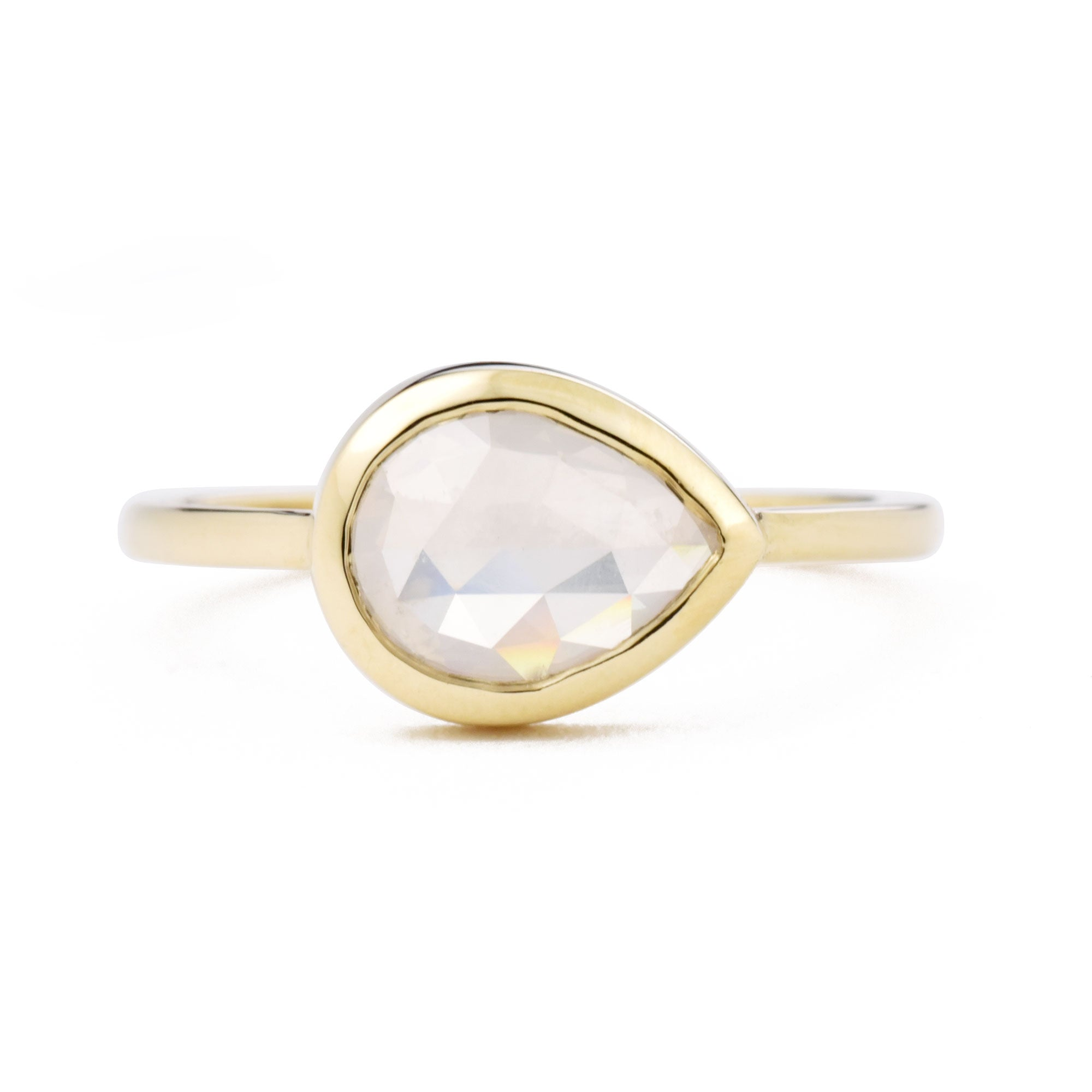 East West Opalescent Pear Bezel Ring