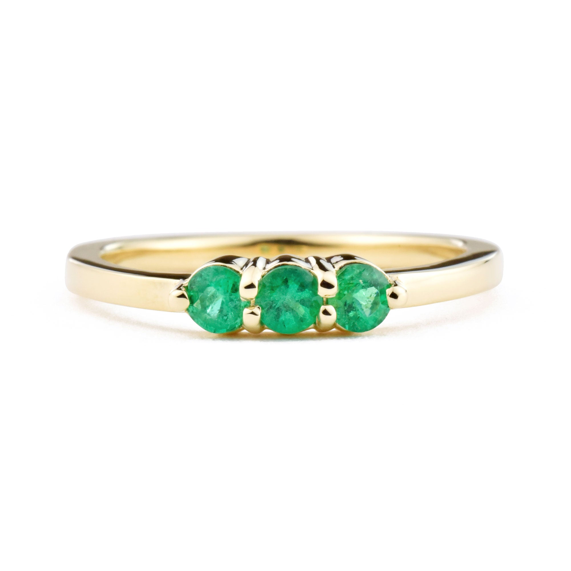 Lily Three Stone Emerald Ring