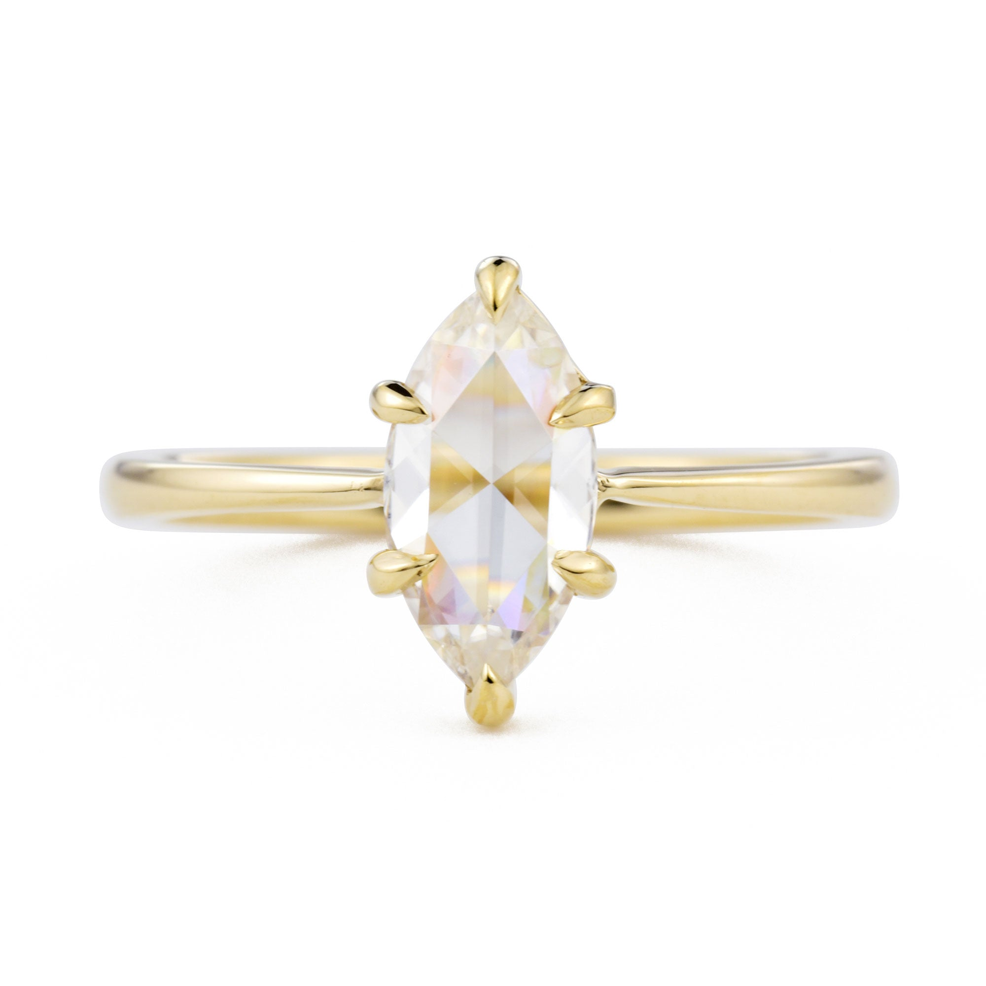 Eva Marquise Rose Cut Moissanite Engagement Ring in yellow gold