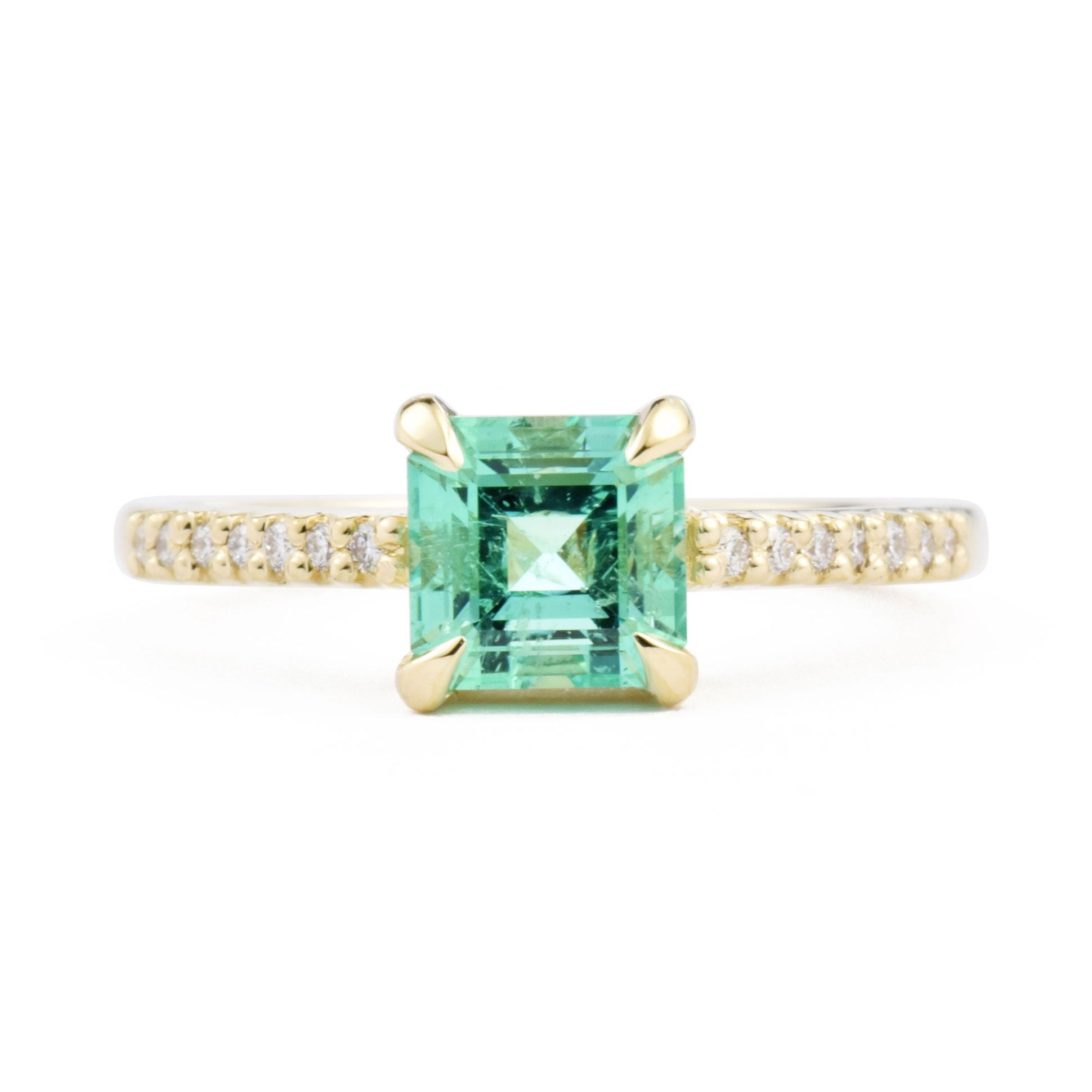 1.1ct Eva Emerald & Pavé Diamond Engagement Ring shown from the front