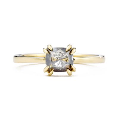 Eva Double Claw Salt & Pepper Octagon Diamond Engagement Ring