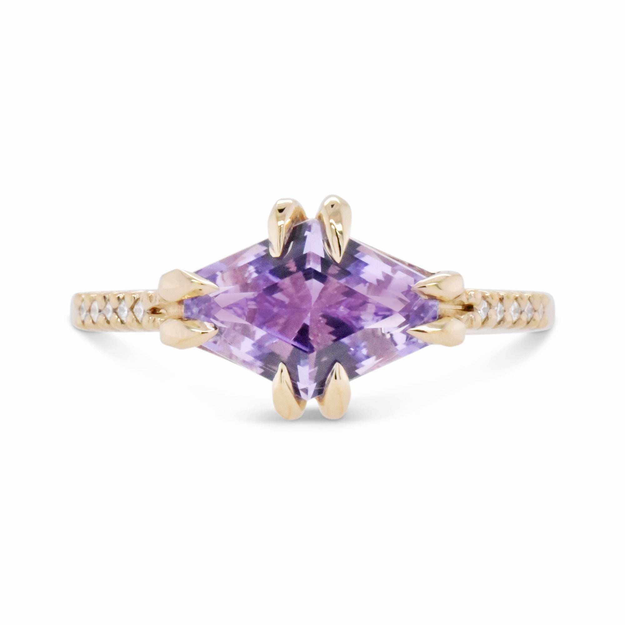 2.05ct Eva Lilac Sapphire & Pavé Diamond Engagement Ring shown from the front