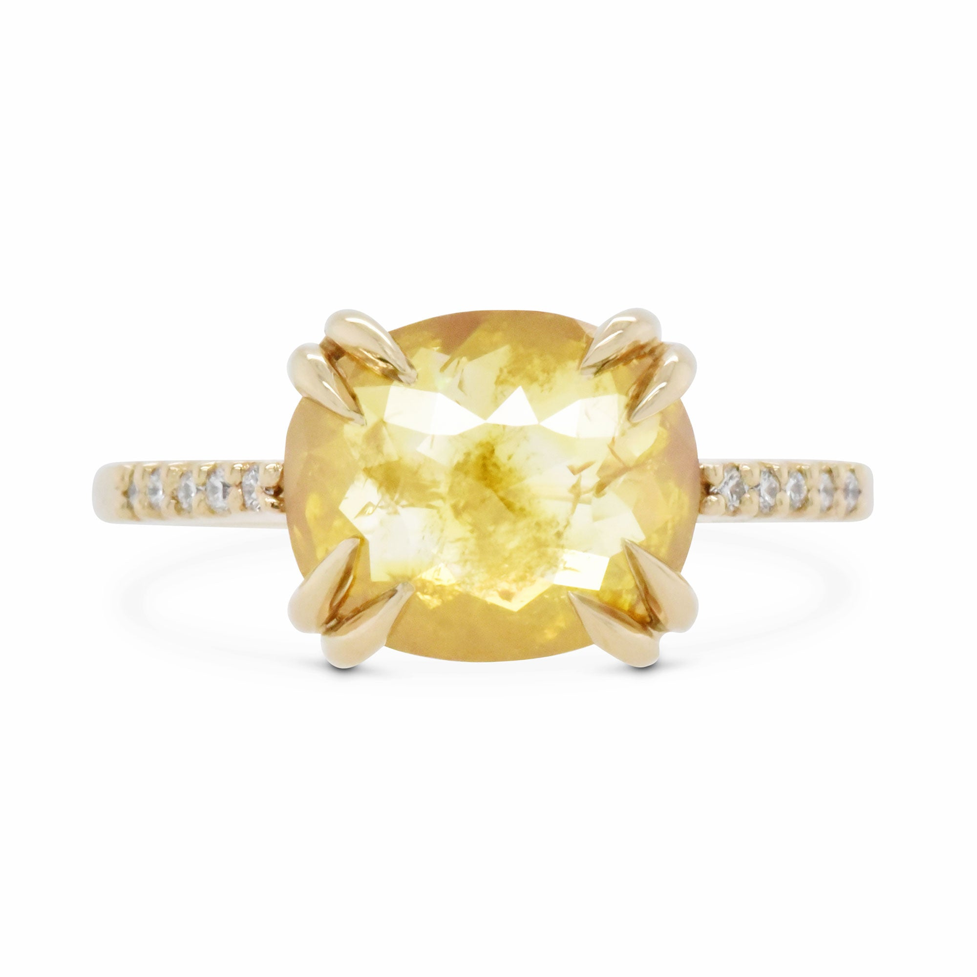 2.17ct Eva Yellow Rose Cut Diamond & Pavé Diamond Engagement Ring (Size 6)