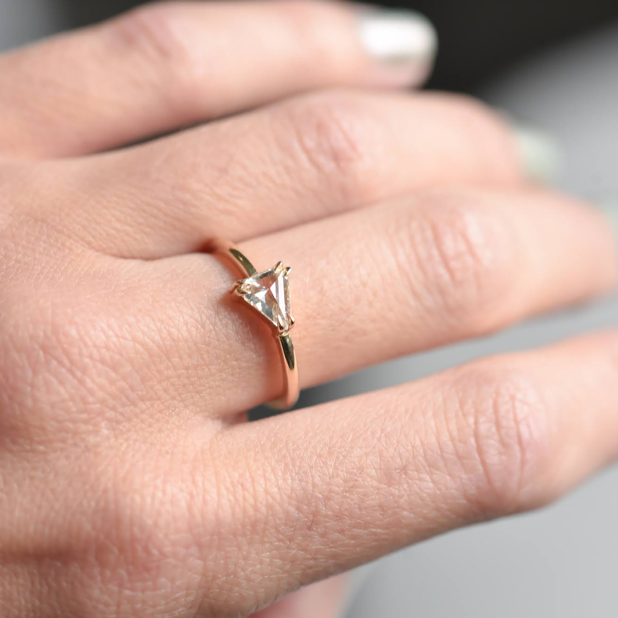 0.56ct Eva Colorless Triangle Rose Cut Diamond Engagement Ring