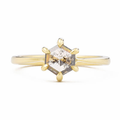 Eva Brown Salt & Pepper Hexagon Diamond Engagement Ring