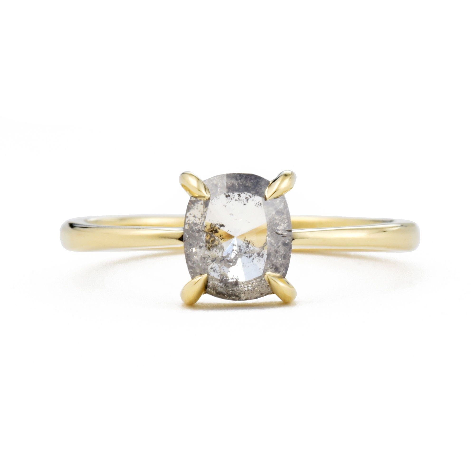 Eva Salt & Pepper Cushion Diamond Ring